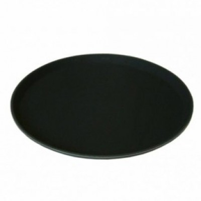 "Round Black Non Slip Tray 11"""