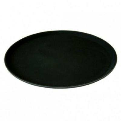 "Round Black Non Slip Tray 14"""