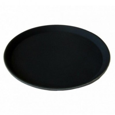 "Round Black Non Slip Tray 16"""